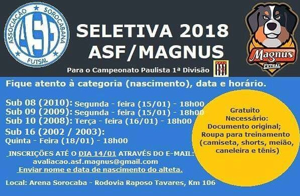 Peneiras no Sorocaba Magnus Futsal categorias sub 8 9 10hellip