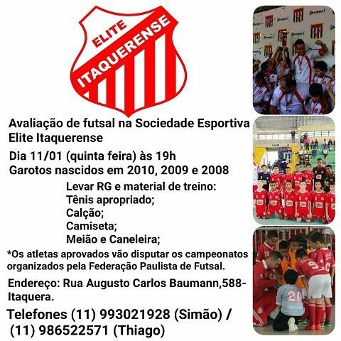 Peneiras no Elite Itaquerense nascidos em 2008 2009 2010 futsalmenoreshellip